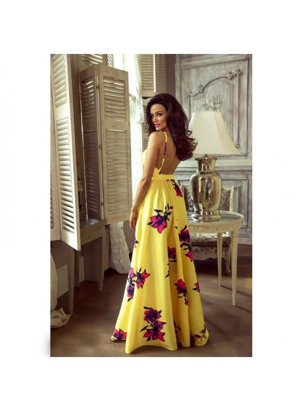 """fbf04d0bf012 Maxi šaty s odhaleným chrbátom """"ČERVENÉ KVETY"""" - Dadoo"""