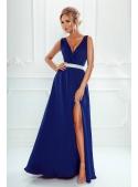 Maxi blue dress with a silver waistline