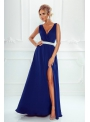 Maxi modré šaty so strieborným pásom