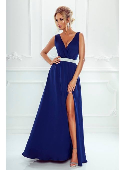 Maxi blue dress with a silver waistline
