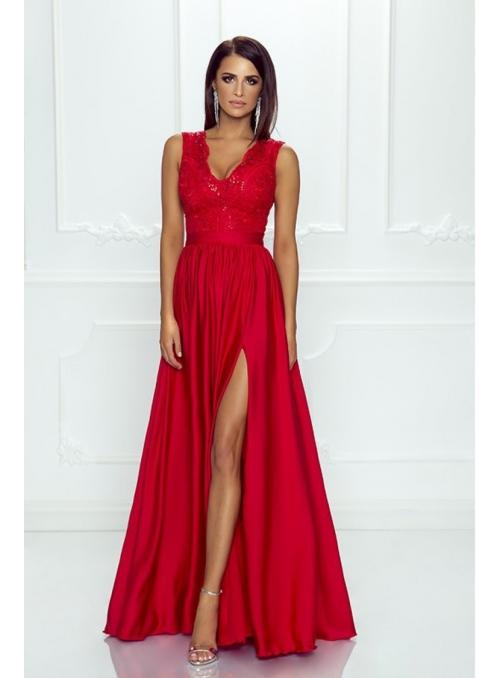 """Maxi šaty """"Red love"""" s čipkou a hrubými ramienkami"""