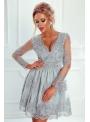 Mini šaty CARMEN s dlhým rukávom, strieborné