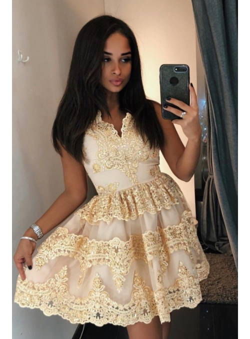 Mini dress CARMEN, gold