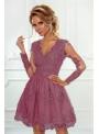 Mini šaty CARMEN s dlhým rukávom, jahodové
