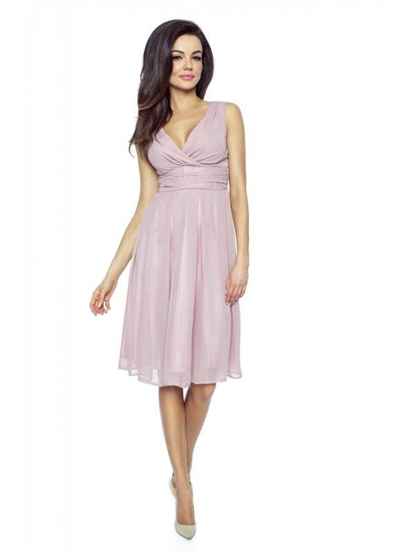 Šifónové ružové midi šaty