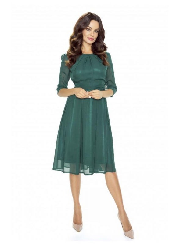 Šifónové midi šaty, zelené
