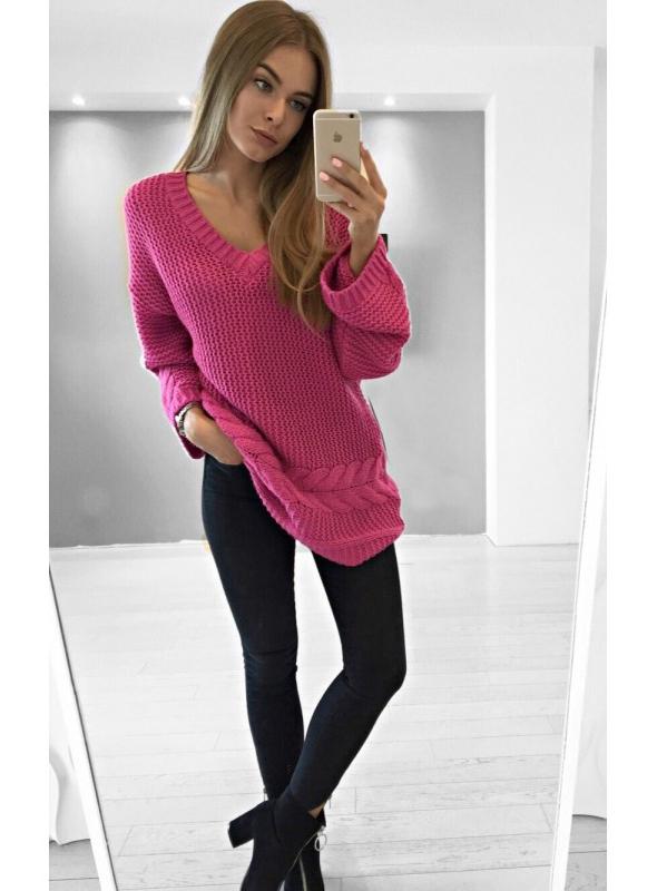 Oversize fuchsiový sveter