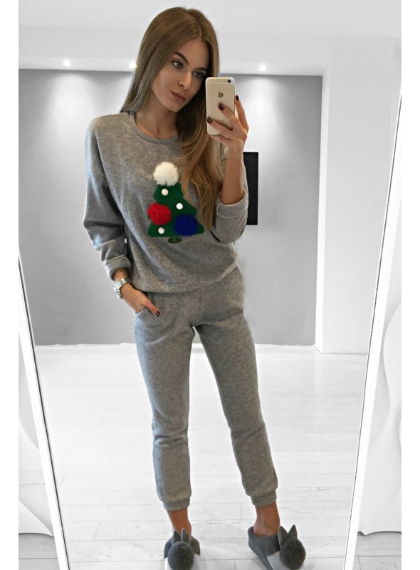 "Sveter ""Christmas tree"", šedý"