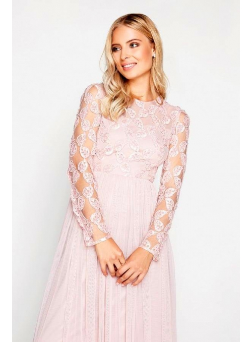 "Maxi Dress ""Pink Champagne"" with long sleeves"