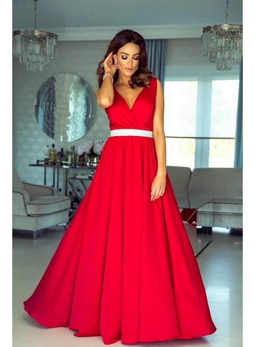 Maxi bordové šaty so strieborným pásom
