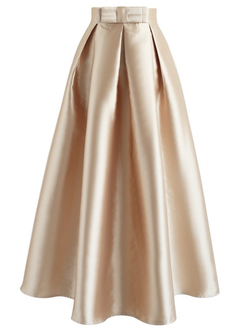 Maxi skirt with gold ribbon
