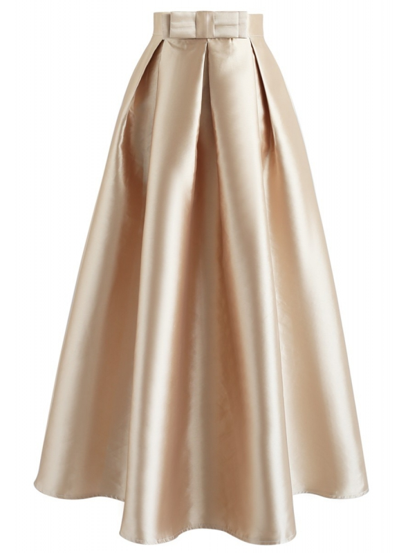 MAXI zlatá sukně s mašlí