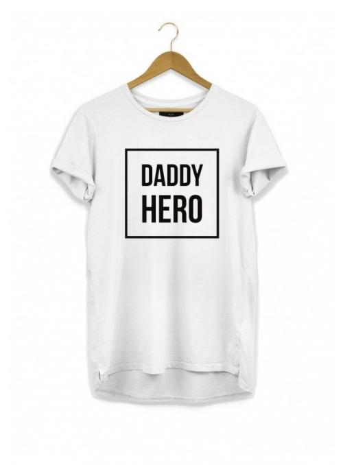 DADDY HERO – pánske tričko, biele