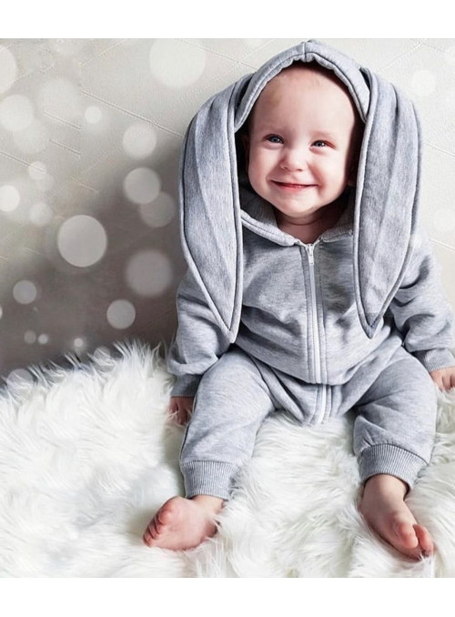 """children jumpsuit with hood and ears """"GRAY BUNNY"""""""