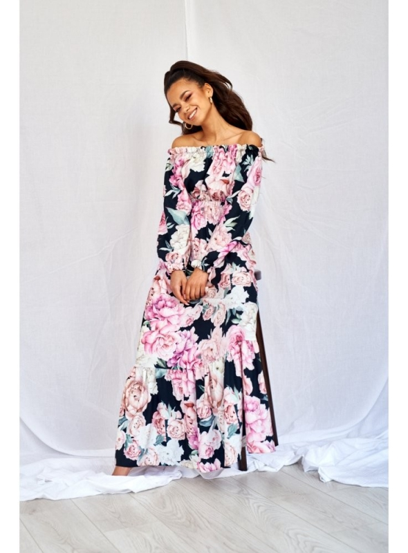 "maxi šaty ""ROSE PASSION in black"""