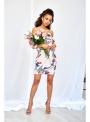 Krémové korzetové šaty s kvetmi
