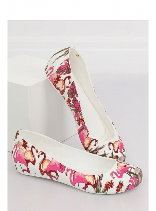 Ballet flats with flamingos, white