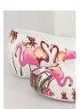Ballet flats with flamingos, white