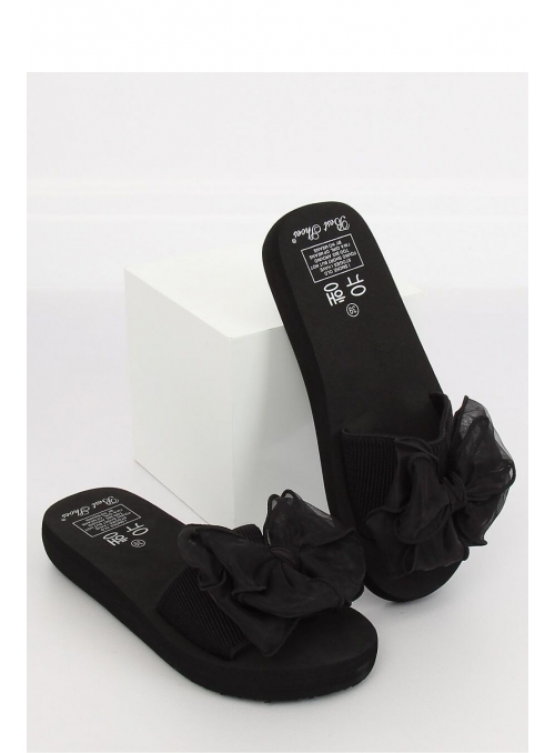 Dámske šľapky s veľkou mašľou, čierne