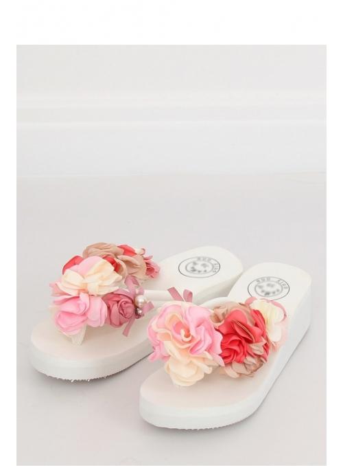 Women's flip-flops with flowers, white
