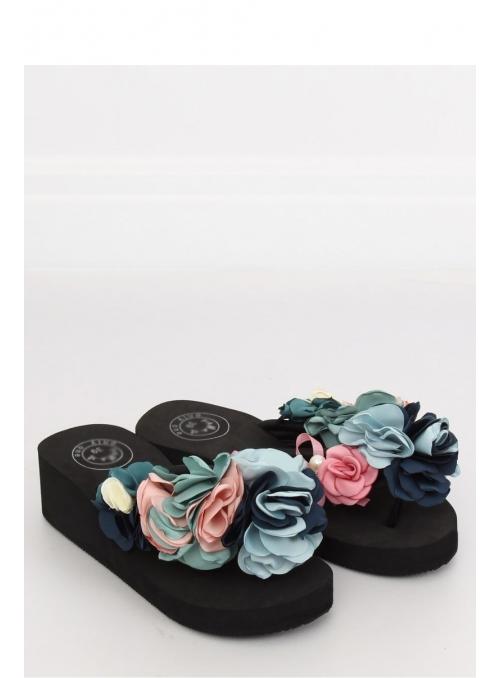 Women's flip-flops with flowers, black
