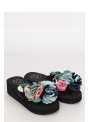 Women's flip-flops with flowers, black