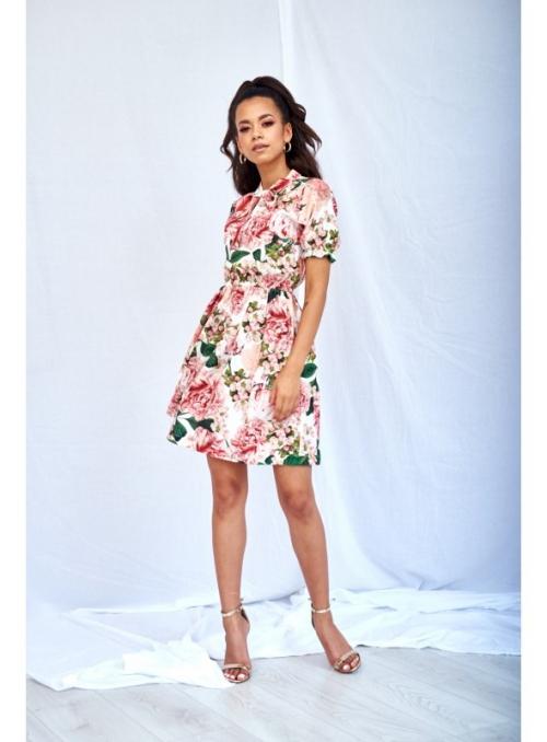 """Mini šaty """"PIVONKA"""" s viazaním a krátkym rukávom"""