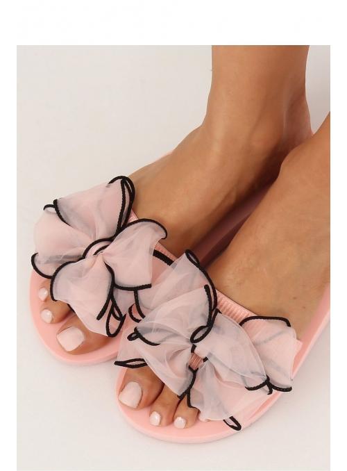 Dámske šľapky s veľkou mašľou, ružové