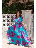 MAXI turquoise dress with flowers - XS