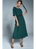 Tmavozelené šaty s gumou v páse - XS