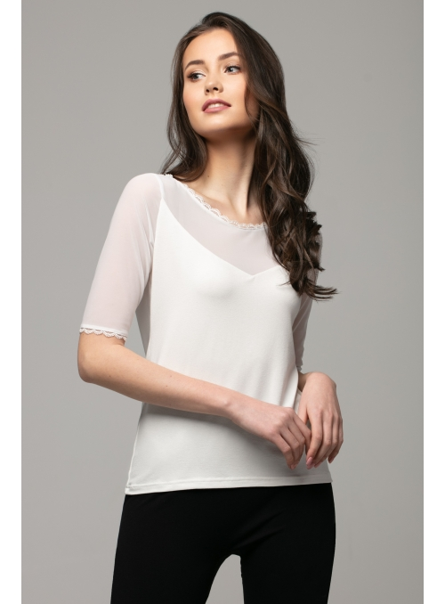 Cream top with lace and chiffon neckline
