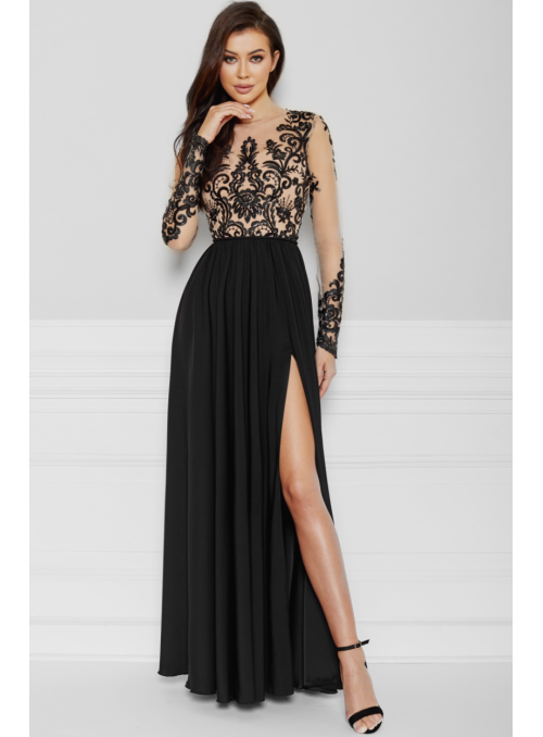 Maxi black dress with a slit - Black Beauty