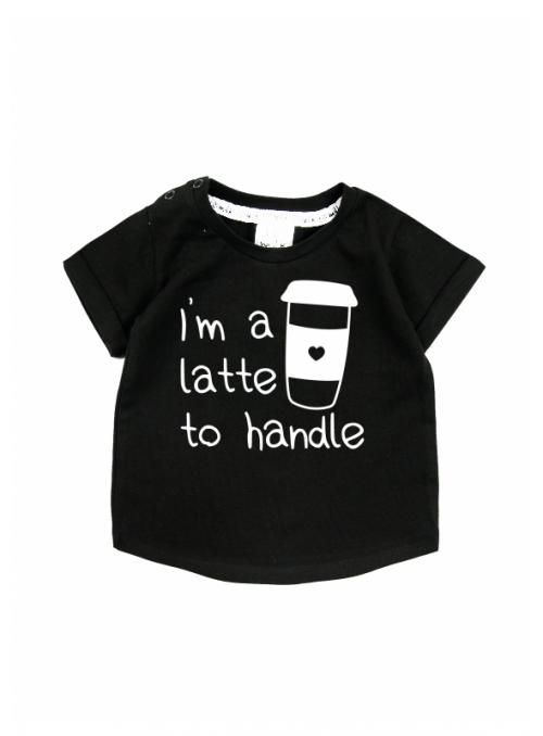 I´m a latte to handle – children's t-shirt, black