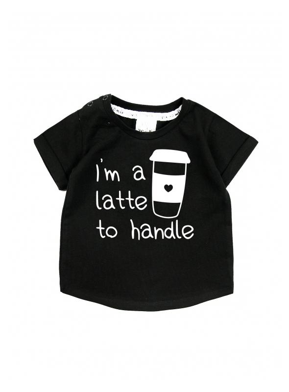 I´m a latte to handle – detské tričko, čierne- 0-3mes