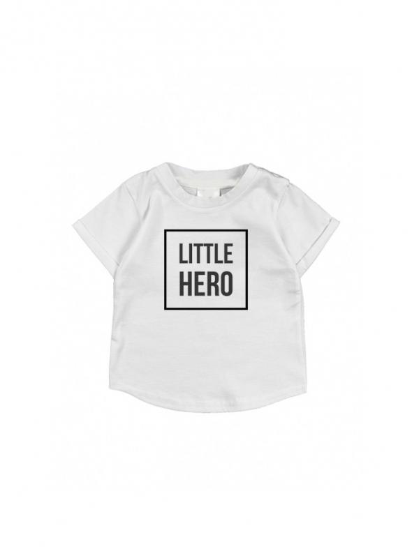 LITTLE HERO – detské tričko, šedé- 3-6 mes