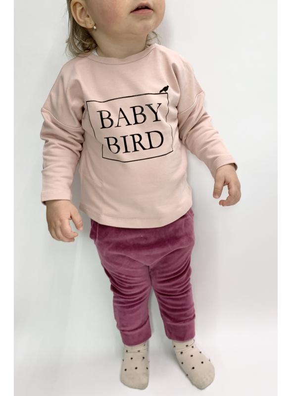 BABY BIRD – detská mikina, ružová - 0-3 mes