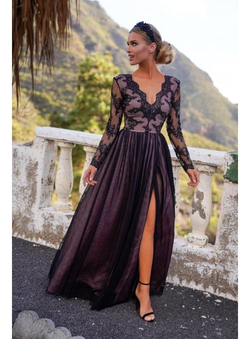 "Maxi šaty ""Adelka"", čierno-telové"