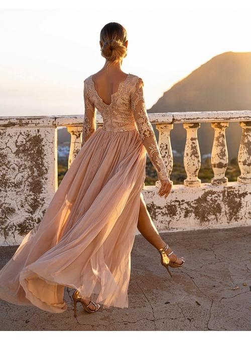 """Maxi šaty """"Adelka"""", karamelové - XS"""