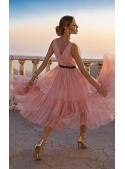 """Midi šaty """"Pařížanka"""", pudrově růžová"""