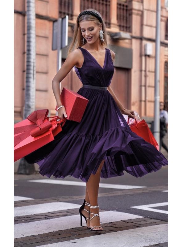 """Midi šaty """"Parížanka"""", baklažánové"""