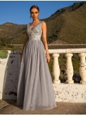 "Maxi dress ""Nikol"", silver-grey"