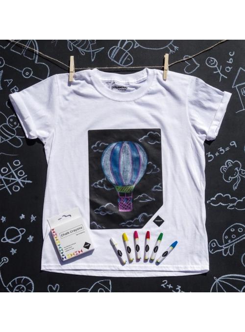 Dětské zábavní tričko s křídovou tabulí + křídy