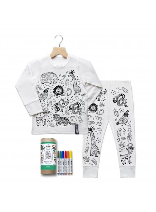 """My jungle - children's pajamas for coloring"" cream"