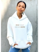 "Hoodie ""Stay home"", cream white"