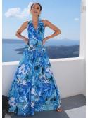 """Maxi šaty """"Modrý deštný prales"""" na vázání"""