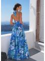"""Maxi šaty """"Modrý dažďový prales"""" so zavazovačkou - XS"""