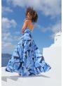 """Maxi šaty """"Modré pierka"""" so zavazovačkou - XS"""