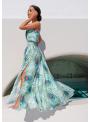 """Maxi šaty s odhaleným ramenom """"Pávie pierko"""" - XS"""