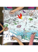 Life in the lake - an interactive tablecloth for coloring, color and learn