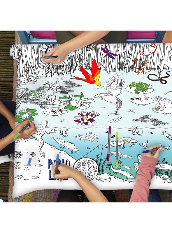 Život v rybníku - interaktívny obrus na vyfarbovanie, vyfarbuj a uč sa